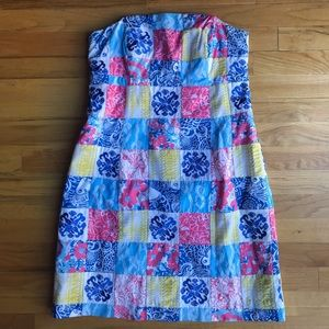 NWOT LILLY PULITZER Strapless Patchwork Dress 6